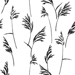 Abstract floral pattern. Grass panicles scattered free. Hand painted texture. Monochrome, black on white background.