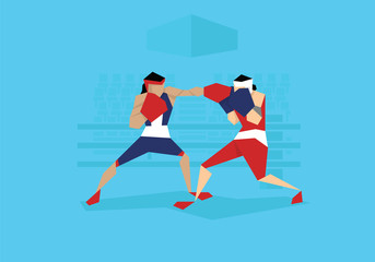 Illustration Of Two Female Boxers Competing In Event
