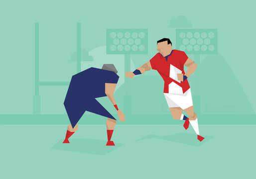 Illustration Of Male Soccer Rugby Competing In Match