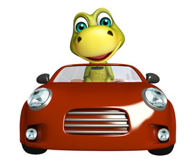 fun Dinosaur cartoon character with car
