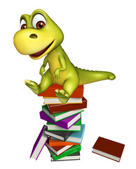fun Dinosaur cartoon character with book stack