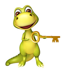 Dinosaur cartoon character with key