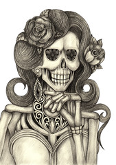 Skull art day of the dead.Art design women skull fashion model action smiley face day of the dead festival hand pencil drawing on paper.