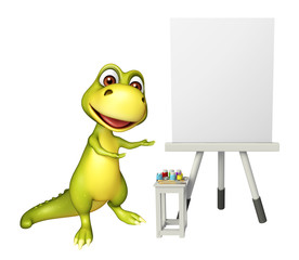 cute Dinosaur cartoon character with white board