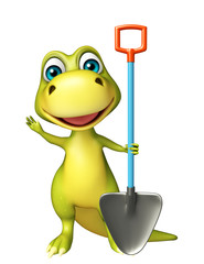 fun Dinosaur cartoon character with digging shovel