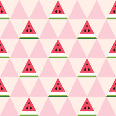 Seamless pattern of watermelon slices in the geometric style. Fresh summer fruit background. Vector illustration.