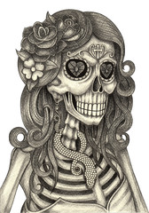 Skull art day of the dead.Art design women skull action smiley face day of the dead festival hand pencil drawing on paper.