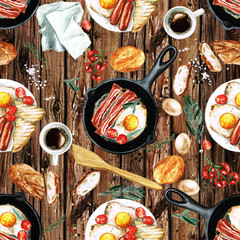 Watercolor Seamless pattern - Breakfast