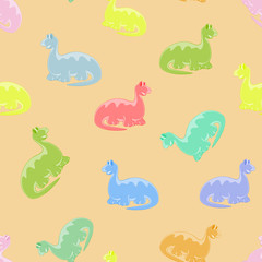 Dino colored seamless background