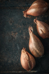 Shallots  on the  old metal background  vertical