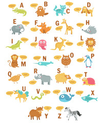 Children's alphabet with animals.