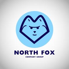 Vector animal logo isolated on white background. Simple flat animal fox, wolf, dog icon.