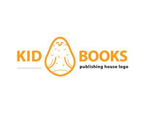 Vector animal logo isolated on white background. Simple flat bird, owl icon. Publishing house logo.