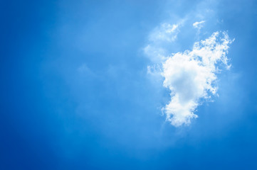 Cloud and blue sky in rainy season.(Soft focus.)