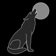 gray wolf silhouette howling full moon