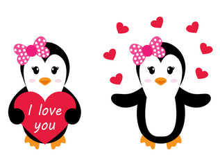 penguin girl with heart set