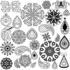 Henna doodle vector elements on white background