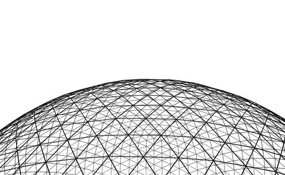 Spherical black grid on white background