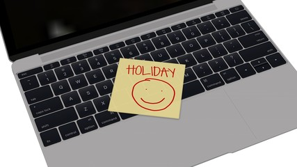 holiday - Laptop with yellow sticky note