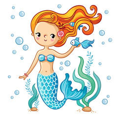 Sea collection, Mermaid. Cute swimming cartoon mermaid. Mermaid in vector illustration.