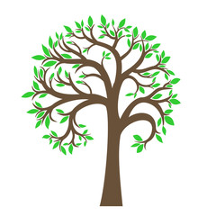 The stylized tree with green leaves in a vector graphics