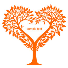 Stylized tree with leaves and flowers in the shape of a heart in vector graphics
