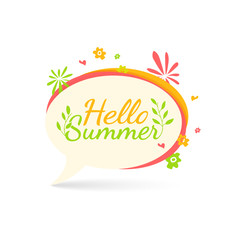 Banner, logo, sticker, bubble with Hello summer. Bubble with Hello summer decoration with plants, flowers. Summer nature decor. Summer flower in simple style. Talk bubble summer banner. Vector.