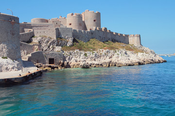 Fortress on sea coast. Château d'If, Marseille, France