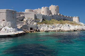 Ancient fortress on coast. Château d'If, Marseille, France