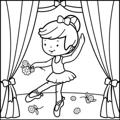 Black and white outline image of a cute ballerina dancer girl, dancing on stage holding flowers.