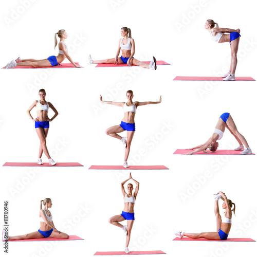 """Pilates. Photo Mix Of Blonde Training On Mat"" Stock Photo"