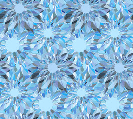 Seamless pattern with blue floral guilloche