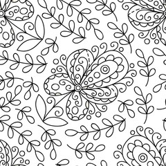 Abstract flower seamless pattern with leaves. Black and white floral print.