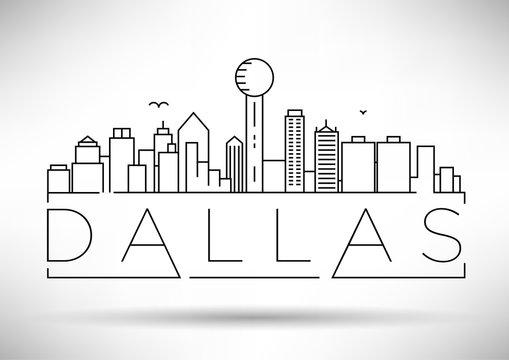 Minimal Dallas City Linear Skyline with Typographic Design