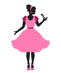 elegant woman in pink lush dress holding a flower