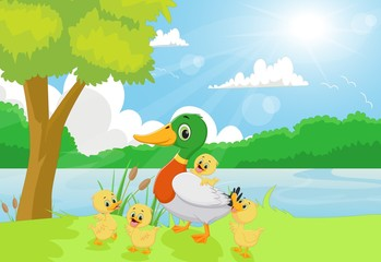 Poster Rivier, meer Cartoon duck family on the riverbank