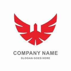 Geometric Wings Bird Flying Vector Logo Template