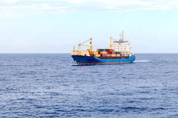 Container Ship in the Mediterranean Sea.