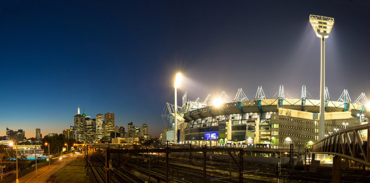 The Melbourne skyline  and the Melbourne Cricket Ground at sunse