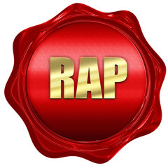 rap music, 3D rendering, a red wax seal