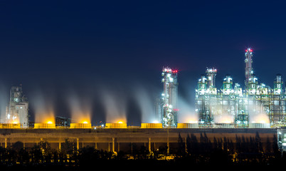 petrochemical plant and oil refinery at twilight time
