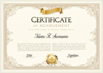 Certificate of Recognition Vintage Frame with Gold Ribbon. Landscape.