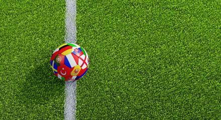 Fußball am Spielfeld -  Anstoß