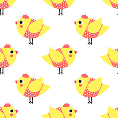 French style chicks seamless pattern on white background. Cute cartoon girls birds vector illustration. French style dressed birdies with hat and polka dots dress.