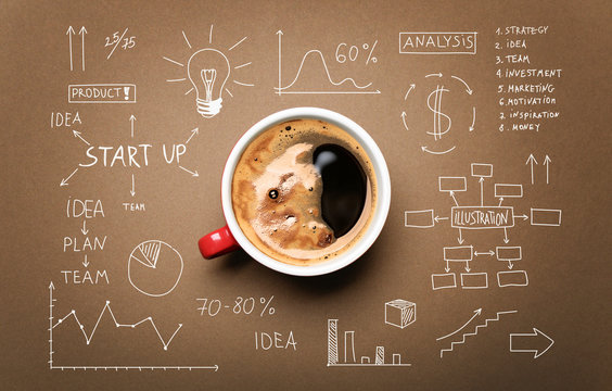 Cup of coffee and drawing business strategy