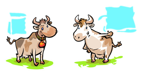 Two cartoon cows.