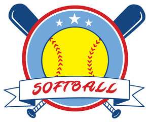 Yellow Softball Over Crossed Bats Logo Design Label. Illustration Isolated On White Background With Text