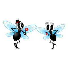 Two funny fly. Vector illustration