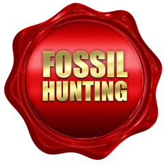 fossil hunting, 3D rendering, a red wax seal