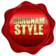 gangnam style, 3D rendering, a red wax seal